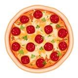 Salami de la pizza Fotografía de archivo