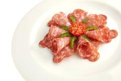Salami de la plaque blanche Images stock