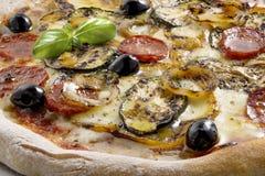 Salami de tomate de mozzarella de pizza et légumes grillés Images libres de droits