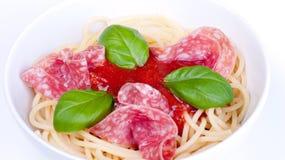 Salami del espagueti Foto de archivo libre de regalías
