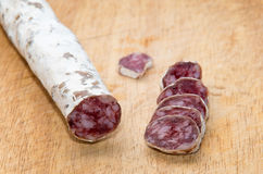 Salami with dill Royalty Free Stock Photography