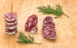 Salami with dill Royalty Free Stock Photo