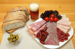 Salami dinner Royalty Free Stock Photo
