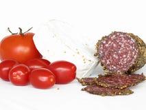 Salami e camembert Foto de Stock