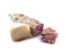 Salami e queijo italianos fotografia de stock royalty free