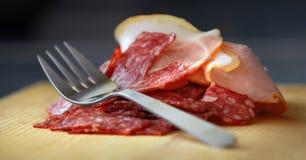 Salami en ham Royalty-vrije Stock Afbeelding