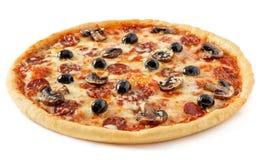 Salami en paddestoelenpizza Royalty-vrije Stock Afbeeldingen