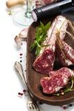 Salami en wijn Stock Afbeelding