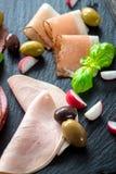 Salami et jambon Image stock