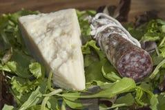 Salami et pecorino Image libre de droits