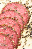 Salami et poivre délicieux Photographie stock