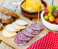 Salami et smoked cheese for tapas Stock Photos