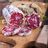 Salami and figs Royalty Free Stock Images