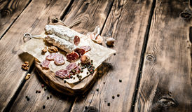 Salami flavored with garlic and spices . Royalty Free Stock Photography