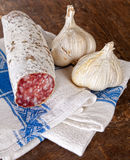 Salami and garlic Stock Photography