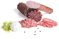 Salami and Garlic Royalty Free Stock Photo