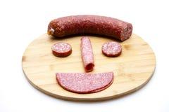 Salami with garlic sausage Royalty Free Stock Photo
