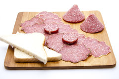 Salami with garlic sausage Royalty Free Stock Photography