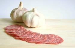 Salami and garlic Stock Photo