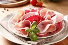 Salami and ham Royalty Free Stock Photo
