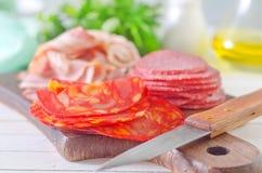 Salami,ham and bacon Stock Photos