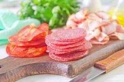 Salami,ham and bacon Royalty Free Stock Photo