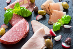 Salami and ham Stock Images