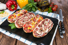 Salami and Ham Pizza Baguette Royalty Free Stock Photos