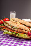 Salami ham sandwich on plate with glass of milk on red white fab Royalty Free Stock Photography