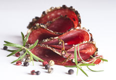 Salami with herbs and spices Stock Photo