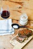 Salami i wino obraz stock
