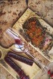 Salami i wino zdjęcie stock