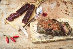 Salami i wino zdjęcie royalty free