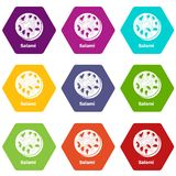 Salami icons set 9 vector. Salami icons 9 set coloful isolated on white for web vector illustration