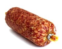 Salami isolated on a white Stock Images