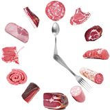 Salami and italian specialties clock in white background. Salami and italian specialties clock on white background Royalty Free Stock Image
