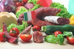 Salami italiano fotografia de stock royalty free