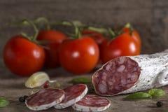 Salami italiano con las especias Foto de archivo libre de regalías