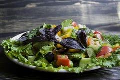 Salami, jam?n y ensalada cortada y verduras del queso Exprimir la salchicha y la carne curada en una tabla festiva fotografía de archivo