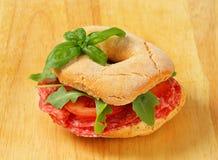 Salami kanapka obraz stock