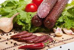 Salami with lettuce and tomatoes Stock Photos