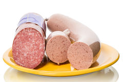 Salami and liver sausages Royalty Free Stock Photo