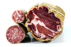 Salami and lonza. Two salami and a wonderful italian lonza Royalty Free Stock Image