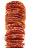 Salami / macro picture of few slices isolated Royalty Free Stock Image