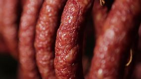Salami. Making sausages at a sausage factory, salami, smoked sausage stock footage