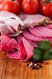 Salami and meats Stock Photos