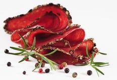 Salami med örtar och kryddor Fotografering för Bildbyråer