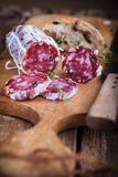 Salami met eigengemaakte Ciabatta Royalty-vrije Stock Foto's