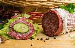 salami met sandwich Stock Foto's