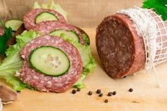 salami met sandwich Royalty-vrije Stock Afbeelding